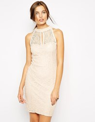 Jessica Wright High Neck Lace Dress Pink