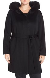 Plus Size Women's Fleurette Wool And Cashmere Wrap Coat With Genuine Fox Fur Black