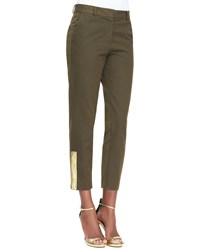 Suno Cropped Trousers With Sketched Bar Detail Green