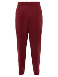 E. Tautz Pleated Wide Leg Wool Twill Trousers Burgundy