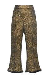 Andrew Gn Cropped Jacquard Trousers Gold