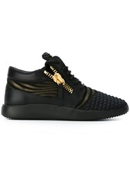 Giuseppe Zanotti Design Striped 'Runner' Low Top Sneakers Black
