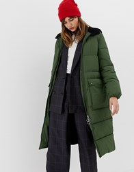 Stradivarius Hooded Maxi Puffer Coat In Green