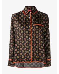 For Restless Sleepers Floral Print Silk Shirt Orange Multi Coloured Black