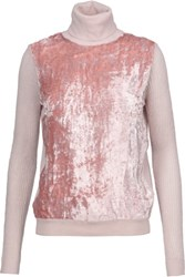 Nina Ricci Velvet Paneled Merino Wool Blend Turtleneck Sweater Pastel Pink