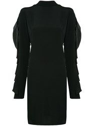 Strateas Carlucci Exposed Orchid Ruffled Sleeve Dress Black