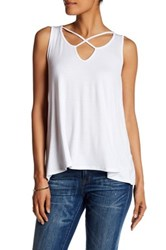 Bobeau Cross Front Sleeveless Tank White