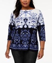 Charter Club Plus Size Printed Boat Neck Top Modern Blue Combo