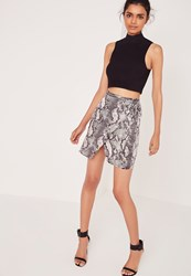 Missguided Snake Print Wrap Mini Skirt Multi