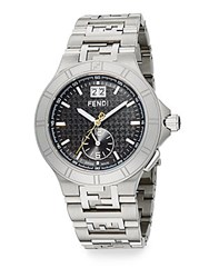 Fendi High Speed Stainless Steel Black Logo Dial Watch
