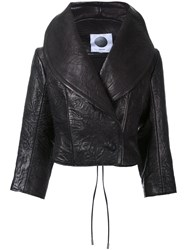 Aganovich Wide Lapel Cropped Jacket Black