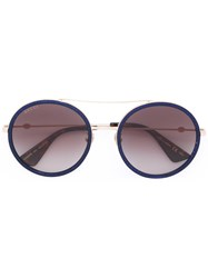 Gucci Eyewear Round Frame Metal Sunglasses Blue