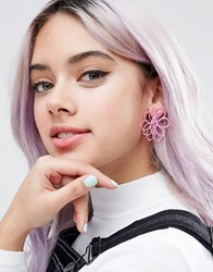 Asos Limited Edition 3D Flower Stud Earrings Pink