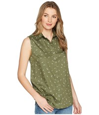 United By Blue Primrose Sleeveless Button Down Green