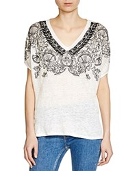 Maje Trust Embroidered Tee Ecru