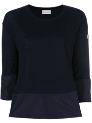 Moncler Contrast Trim Knitted Top Blue