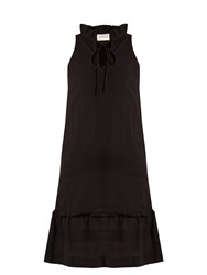 Cecilie Copenhagen Tie Neck Scarf Jacquard Cotton Dress Black