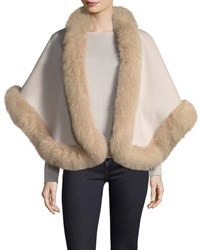 Neiman Marcus Luxury Double Faced Cashmere Short Cape W Fox Fur Trim Buff Sand