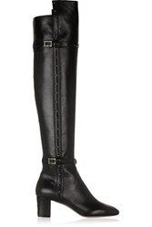 Valentino Studded Leather Over The Knee Boots Black