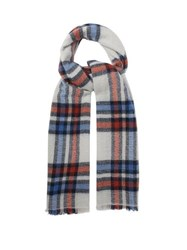 Isabel Marant Suzanne Checked Wool Blend Scarf Blue