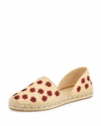 Jimmy Choo Hibiscus Embroidered D'orsay Flat Beige Natural Red