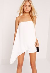 Missguided Chiffon Bandeau Asymmetric Playsuit White