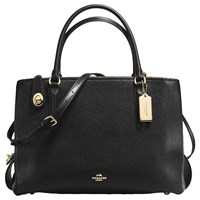 Coach Brooklyn 34 Leather Carryall Tote Bag Black