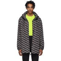 Balenciaga Black And Grey Monogram Raincoat