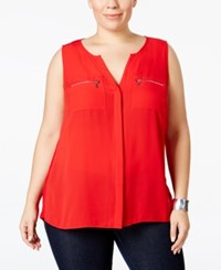 Inc International Concepts Plus Size Split Neck Zipper Blouse Only At Macy's Real Red