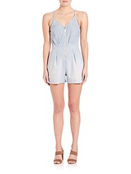 7 For All Mankind Chambray Front Zip Short Romper Stretch Chambray