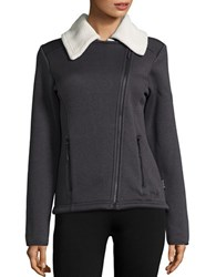 Jack Wolfskin Terra Nova Asymmetrical Zip Front Fleece Lined Performance Jacket Phantom