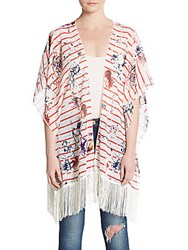 Cara Rose Print Striped Fringe Cardigan Red