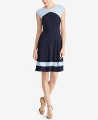 American Living Colorblocked Fit And Flare Dress Black Beach Blue