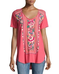 Johnny Was Floral Embroidery Jersey Tee Coral