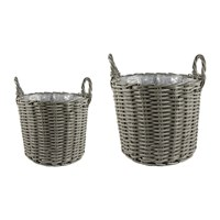 Ivyline Polyrattan Planter Set Of 2 Grey