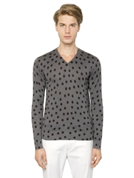 Dolce And Gabbana Polka Dot Printed Silk Sweater Grey Black