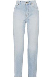 Saint Laurent Woman Distressed High Rise Slim Leg Jeans Light Denim