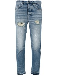 Golden Goose Deluxe Brand Distressed Cropped Jeans Blue