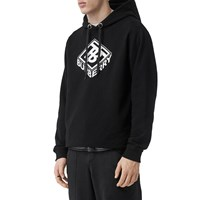 Burberry Logo Embroidery Cotton Jersey Hoodie Black