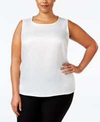 Kasper Plus Size Sleeveless Suiting Top White