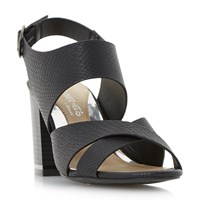 Head Over Heels Jaya Stack Heel Cross Strap Sandals Black