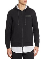 Saks Fifth Avenue X Anthony Davis Zip Up Mesh Trimmed Hoodie Caviar