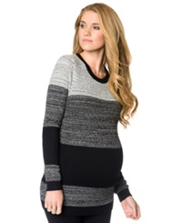 A Pea In The Pod Maternity Colorblocked Sweater Grey Black Charcoal