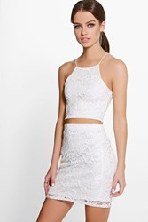 Boohoo Lace Crop And Mini Skirt Co Ord Set Ivory