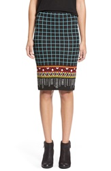 Flying Tomato Midi Skirt Black Turquoise Combo