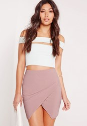 Missguided Slinky Asymmetric Wrap Skirt Pink Pink
