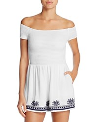 L Space Nanette Off The Shoulder Romper Cover Up White
