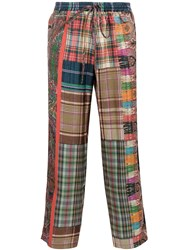 Pierre Louis Mascia Patchwork Cropped Trousers Multicolour