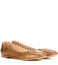 Chloe Lauren Iridescent Snakeskin Ballerinas Brown