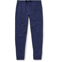Handvaerk Slim Fit Tapered Pima Cotton Pyjama Trousers Navy